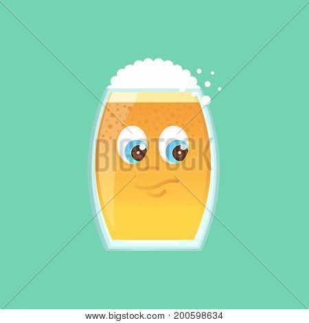 Character glass with beer foam and bubbles. Emotional icon. Interested suspects thinks. Sticker for the messenger and other communication links. Vector illustration in a cartoon style.