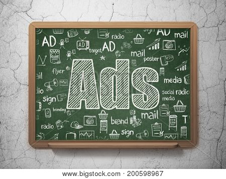 Advertising concept: Chalk White text Ads on School board background with  Hand Drawn Marketing Icons, 3D Rendering