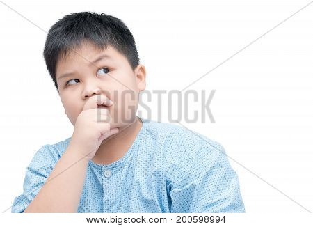 Obese Fat Asian Boy Thinking Isolated On White Background