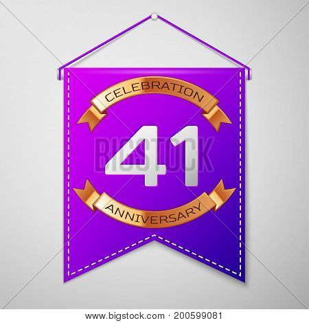 Realistic Purple pennant with inscription Forty one Years Anniversary Celebration Design on grey background. Golden ribbon. Colorful template elements for your birthday party. Vector illustration