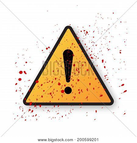 Vector yellow triangle safety with exclamation mark