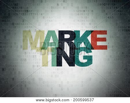 Advertising concept: Painted multicolor text Marketing on Digital Data Paper background