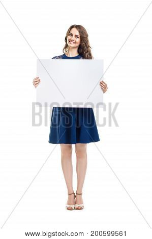 Smiling Beautiful Woman Holding Empty Sign Board