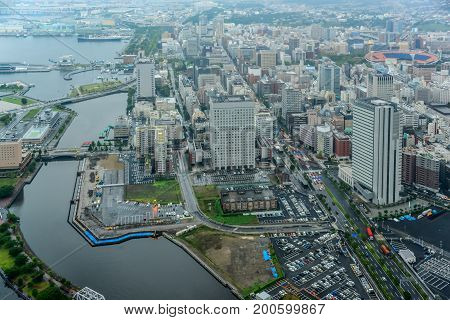Aerial view of beautiful Yokohama cityscape with skyscrapers