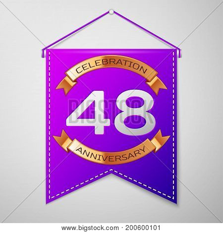 Realistic Purple pennant with inscription Forty eight Years Anniversary Celebration Design on grey background. Golden ribbon. Colorful template elements for your birthday party. Vector illustration