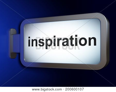 Advertising concept: Inspiration on advertising billboard background, 3D rendering