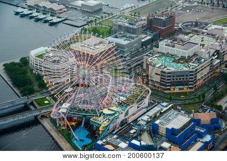 Aerial view of beautiful Yokohama cityscape with Ferris wheel