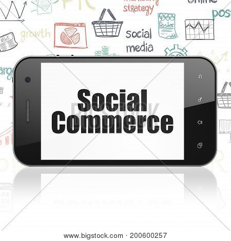 Marketing concept: Smartphone with  black text Social Commerce on display,  Hand Drawn Marketing Icons background, 3D rendering