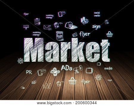 Advertising concept: Glowing text Market,  Hand Drawn Marketing Icons in grunge dark room with Wooden Floor, black background