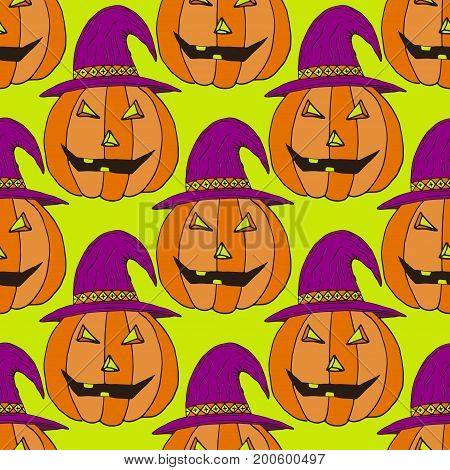 Jack-O-Lantern pumpkin background. Vector illustration. Halloween seamless pattern for wrapping paper