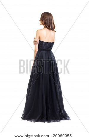 Back View Of Young Beautiful Woman In Black Evening Dress
