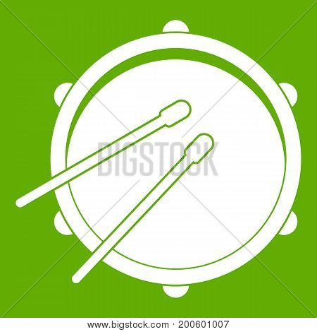 Drum icon white isolated on green background. Vector illustration