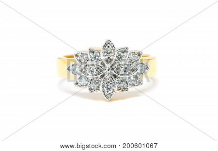 Beautiful Gold Ring With Diamond Isolated On White