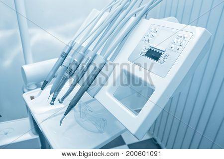 Tools Of Dentist. Blue Tone.