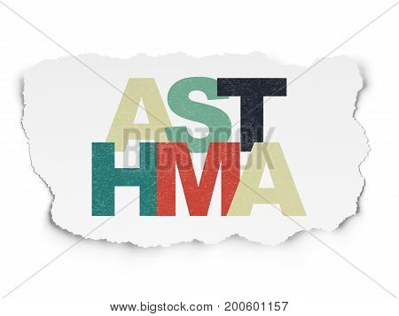 Healthcare concept: Painted multicolor text Asthma on Torn Paper background