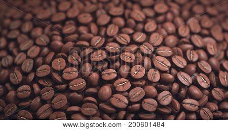 3D illustration. Roasted coffee bean in aspect ratio approximately: 1.9:1 (4K format). Background spherical surface with depth of field.