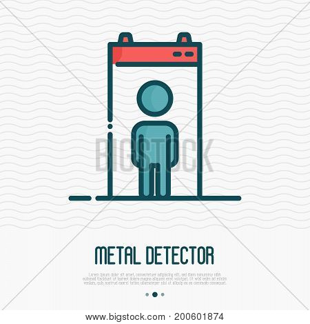 Metal airport detector with man inside thin line icon. Vector illustration of security scanner.