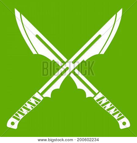 Japanese tanto daggers icon white isolated on green background. Vector illustration