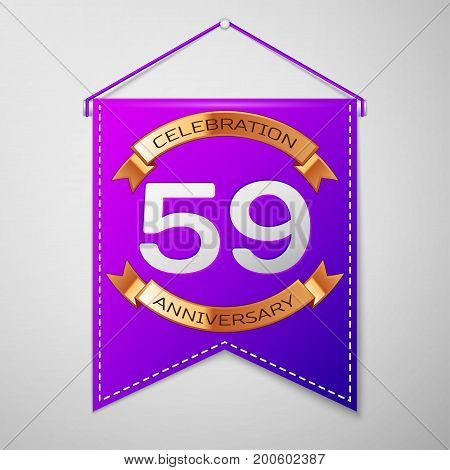 Realistic Purple pennant with inscription Fifty nine Years Anniversary Celebration Design on grey background. Golden ribbon. Colorful template elements for your birthday party. Vector illustration