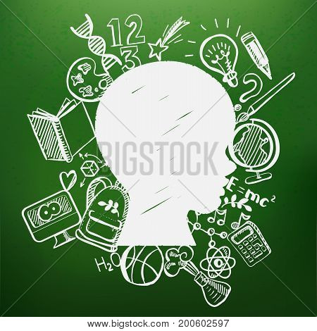 The concept of school learning. Vector illustartion. Kids contour chalkboard with many doodle icons on the contour of schoolboy profile. creative Idea of education for banners, posters