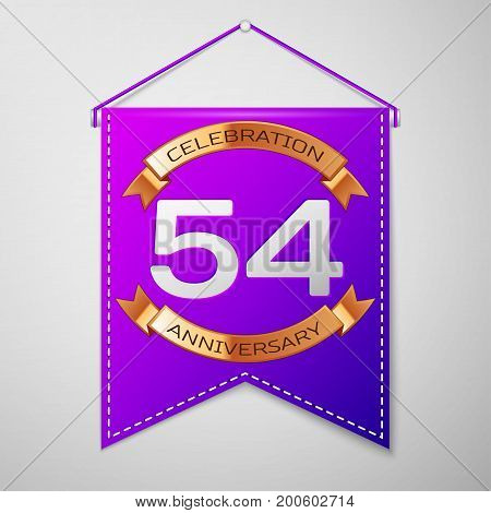 Realistic Purple pennant with inscription Fifty four Years Anniversary Celebration Design on grey background. Golden ribbon. Colorful template elements for your birthday party. Vector illustration