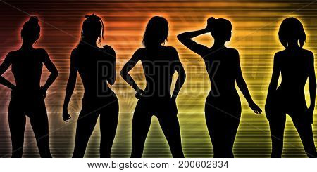 Sexy Nightlife with Silhouettes of Women Dancing