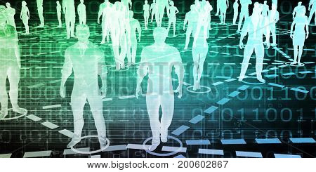 Group of People Connected Through Technology Concept 3D Illustration Render