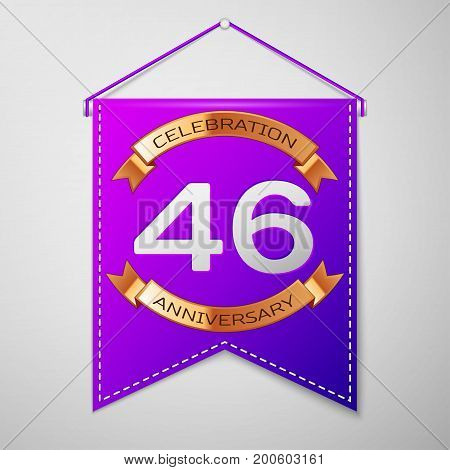 Realistic Purple pennant with inscription Forty six Years Anniversary Celebration Design on grey background. Golden ribbon. Colorful template elements for your birthday party. Vector illustration