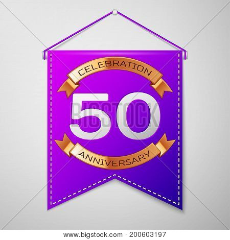 Realistic Purple pennant with inscription Fifty Years Anniversary Celebration Design on grey background. Golden ribbon. Colorful template elements for your birthday party. Vector illustration