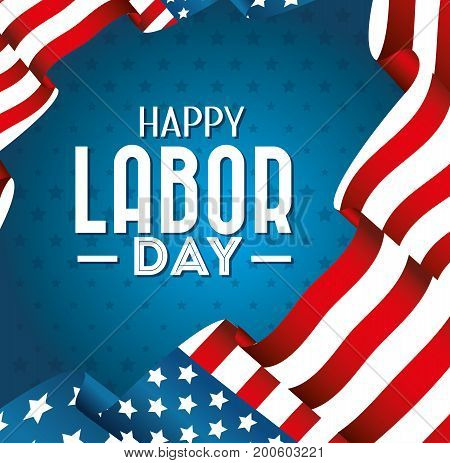 Labor day card design vector illustration with USA flag
