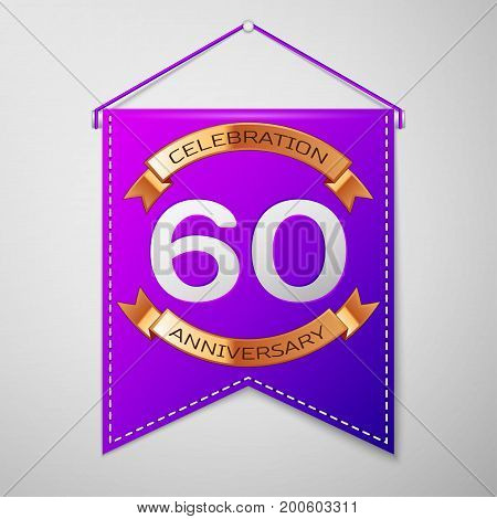 Realistic Purple pennant with inscription Sixty Years Anniversary Celebration Design on grey background. Golden ribbon. Colorful template elements for your birthday party. Vector illustration