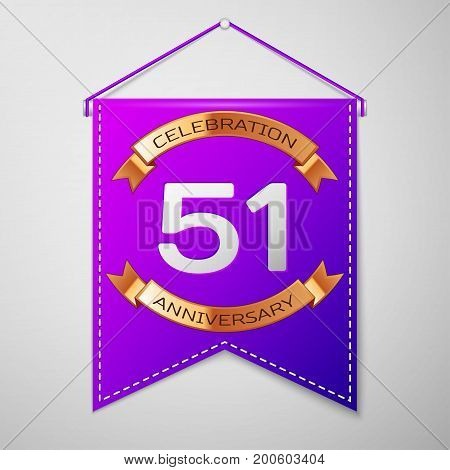 Realistic Purple pennant with inscription Fifty one Years Anniversary Celebration Design on grey background. Golden ribbon. Colorful template elements for your birthday party. Vector illustration