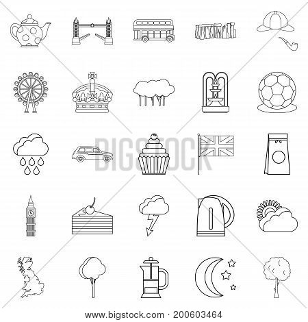 Detached house icons set. Outline set of 25 detached house vector icons for web isolated on white background