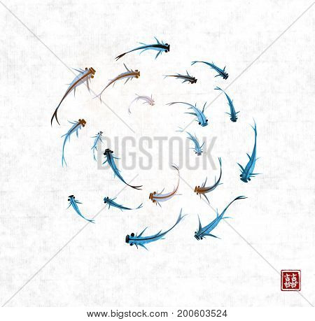 Little blue fishes hand drawn with ink on rice paper background. Traditional oriental ink painting sumi-e, u-sin, go-hua. Contains hieroglyph - double luck. Vector illustration.