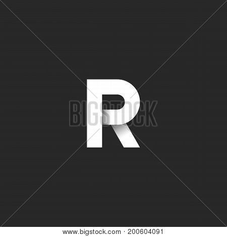 Initial Letter R Logo Bold Font, White Gradient Ribbon Linear Style Material Design Element, Idea Bu