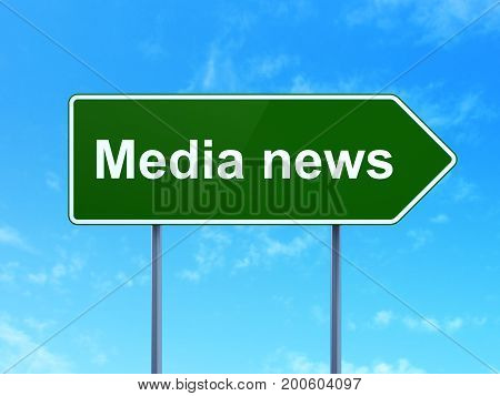 News concept: Media News on green road highway sign, clear blue sky background, 3D rendering