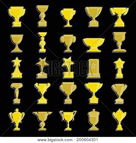 Award prize set doodle vector illustration for design and web isolated on black background. Award prize vector object for labels  and advertising
