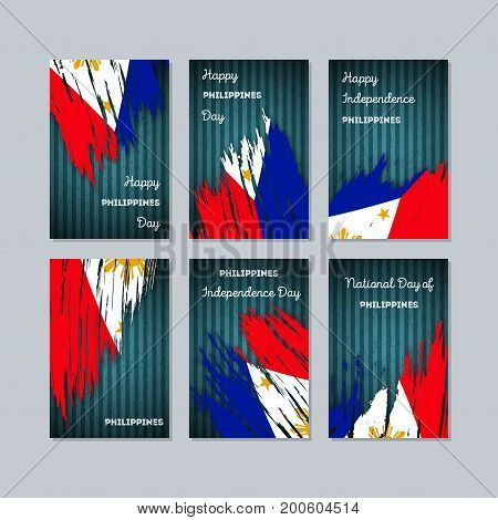 Philippines Patriotic Cards For National Day. Expressive Brush Stroke In National Flag Colors On Dar