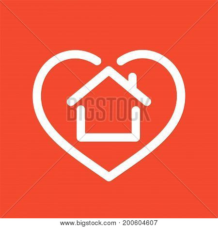 Heart with house shape within line style icon, love home symbol, vector illustration isolated on red background
