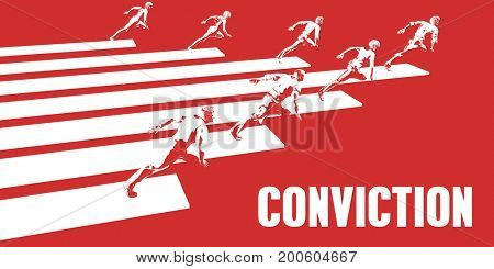 Conviction with Business People Running in a Path 3D Illustration Render