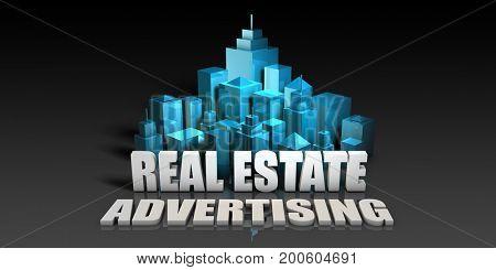 Real Estate Advertising Concept in Blue on Black Background 3D Illustration Render
