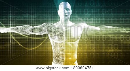 Medical Research on the Human Body as Concept 3D Illustration Render