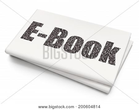 Learning concept: Pixelated black text E-Book on Blank Newspaper background, 3D rendering