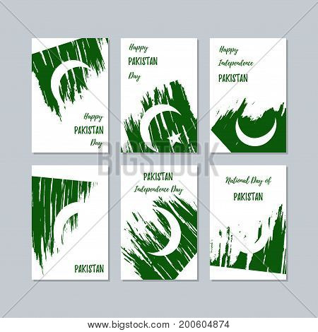 Pakistan Patriotic Cards For National Day. Expressive Brush Stroke In National Flag Colors On White