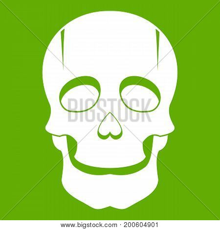 Singer mask icon white isolated on green background. Vector illustration