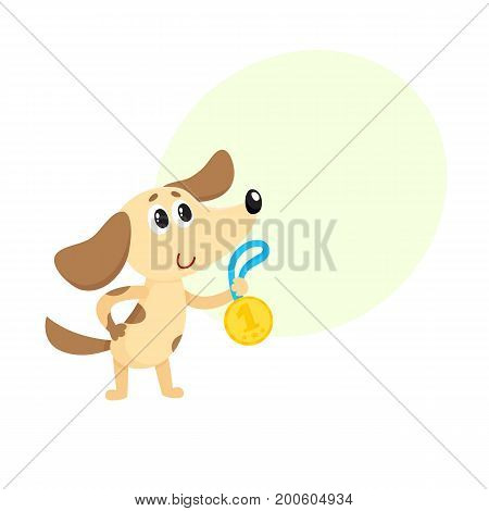Cute little dog, puppy character, champion holding golden winner medal, cartoon vector illustration with space for text. Little baby dog, puppy champion holding medal for taking first place