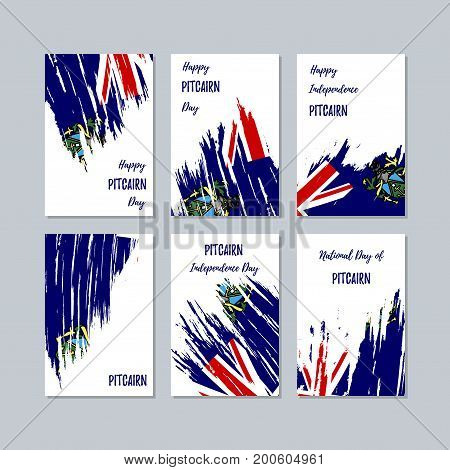 Pitcairn Patriotic Cards For National Day. Expressive Brush Stroke In National Flag Colors On White