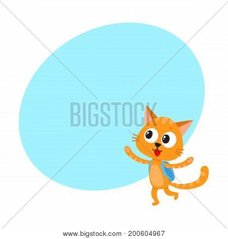 Cute little cat, kitten student character with backpack happy to be back to school, cartoon vector illustration with space for text. Little cat, kitten student with backpack, back to school