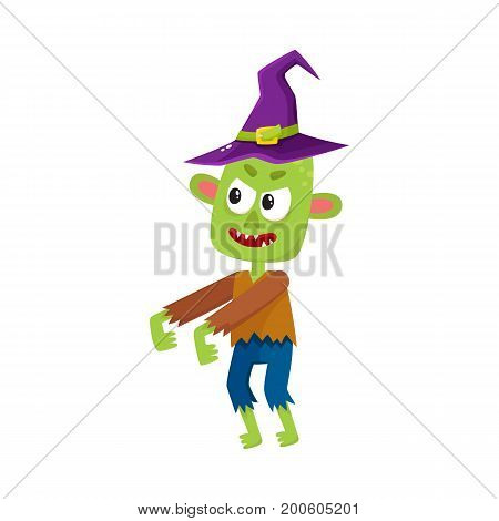 Scary little green zombie monster in pointed witch hat, Halloween costume, cartoon vector illustration isolated on a white background. Monster, zombie in witch hat with arms stretched forward