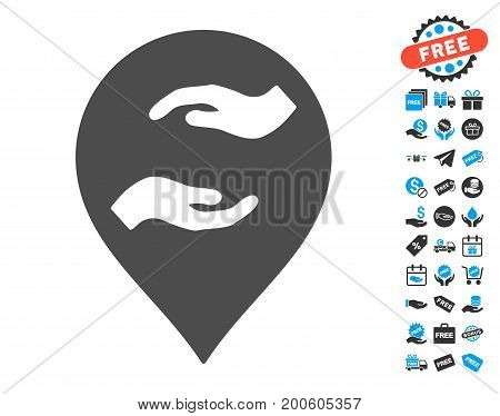Care Hands Marker gray pictograph with free bonus clip art. Vector illustration style is flat iconic symbols.